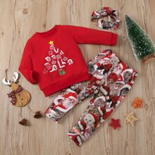 Sweatshirt mit Weihnachten Muster & Jogginghose & Haarband