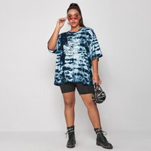 Plus Chinese Dragon Tie Dye Longline Tee