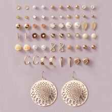 30pairs Girls Faux Pearl Decor Earrings