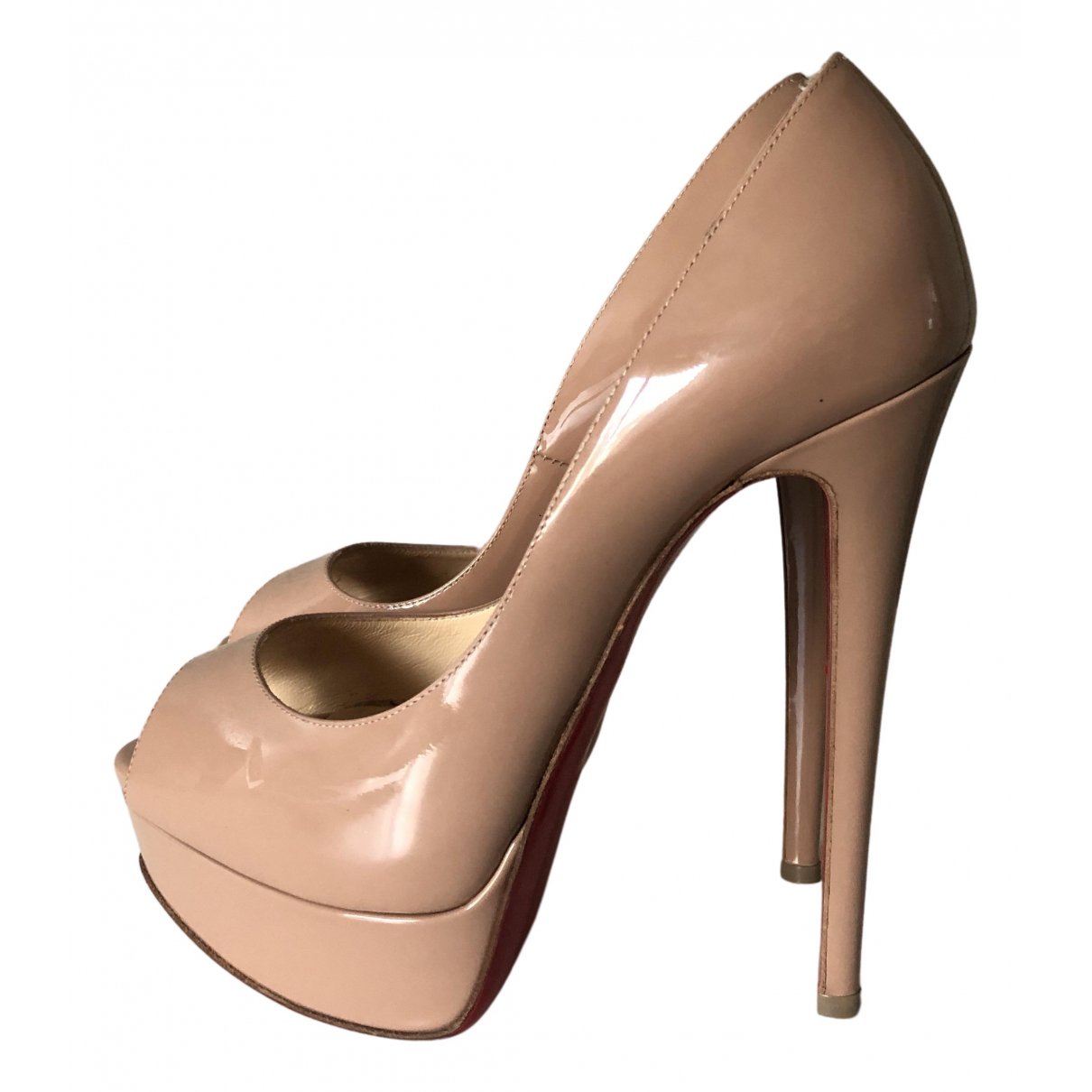Christian Louboutin Lady Peep Pumps in  Beige Lackleder