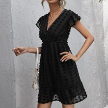 Swiss Dot Surplice Neck Ruffle Hem Dress
