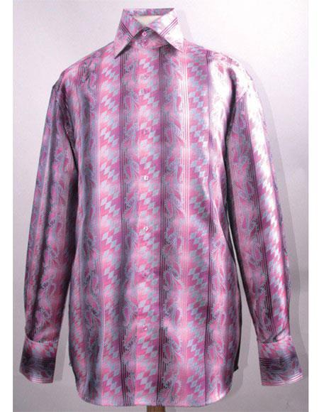 Mens High Collar ~ Shiny ~ Silky Fabric Fuchsia Diamond Pattern Shirt