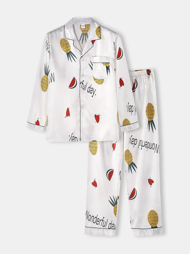 Pineapple Watermelon Print Lapel Pajamas Two Piece Long Sleeve Casual Homewear Sets