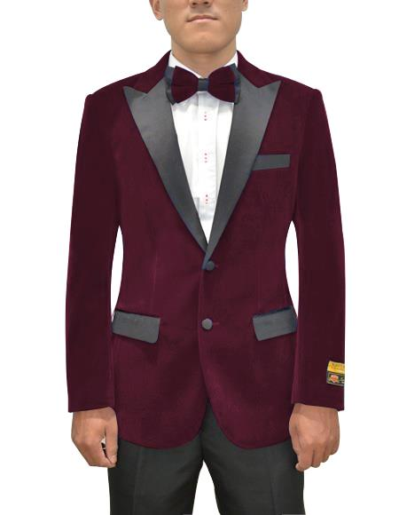 Mens Two Button Peak Lapel Maroon Single Breasted Suit