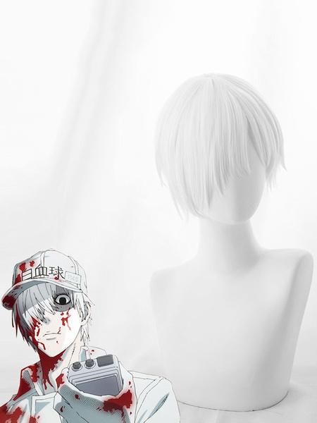 Milanoo Halloween Carnaval Anime Cosplay peluca Halloween Cosplay peluca blanca
