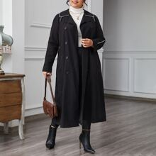 Plus Contrast Tipping Double Button Self Belted Trench Coat