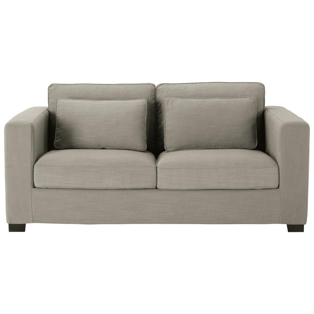 Ausziehbares 3-Sitzer-Sofa, hellgrau, Matratze 6 cm Milano