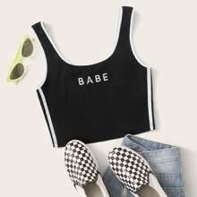 Contrast Binding Letter Embroidery Crop Tank Top