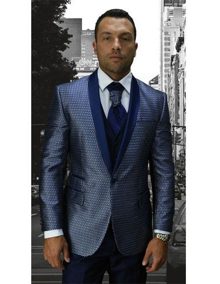 Men's Single Breasted Blue Modern Fit Shawl Lapel Suit