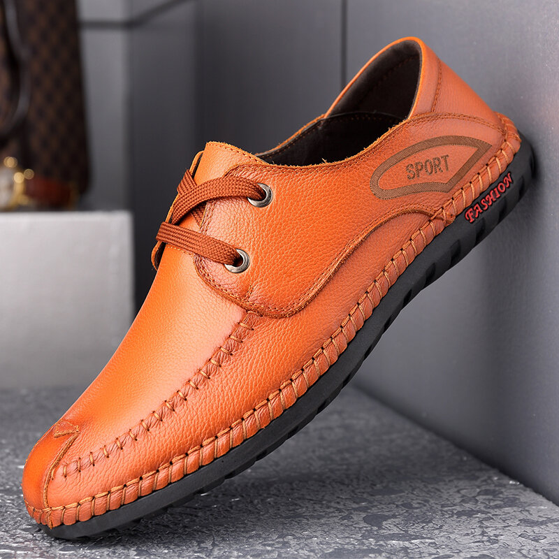 Men Round Toe Hand Stitching Business Casual Leather Shoes