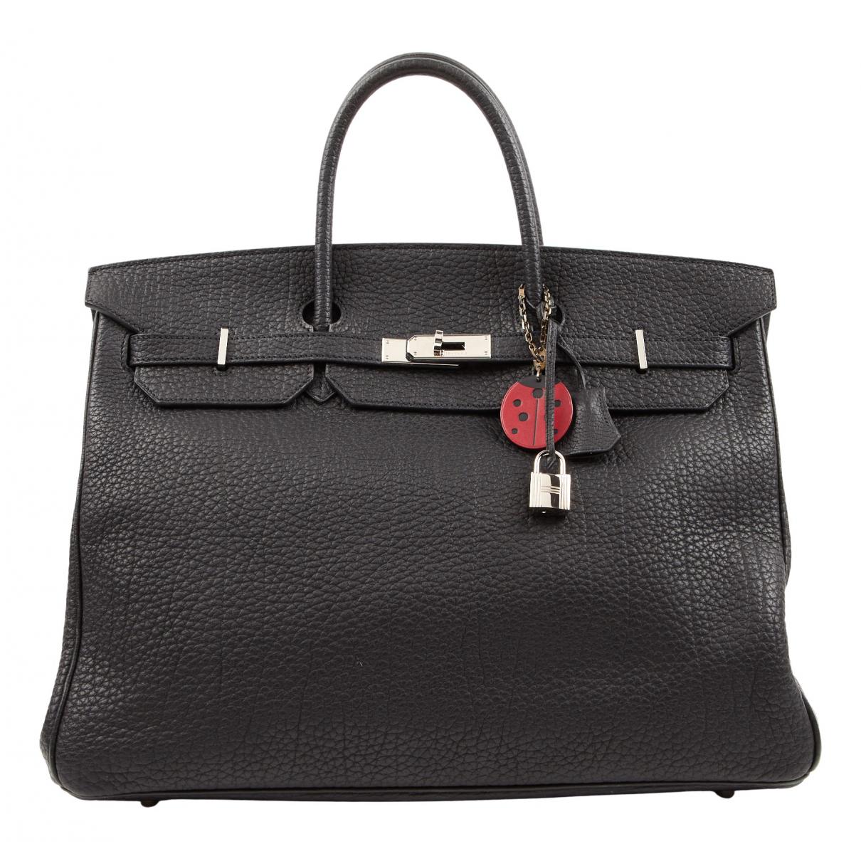 Hermes - Sac a main Birkin 40 pour femme en cuir - noir