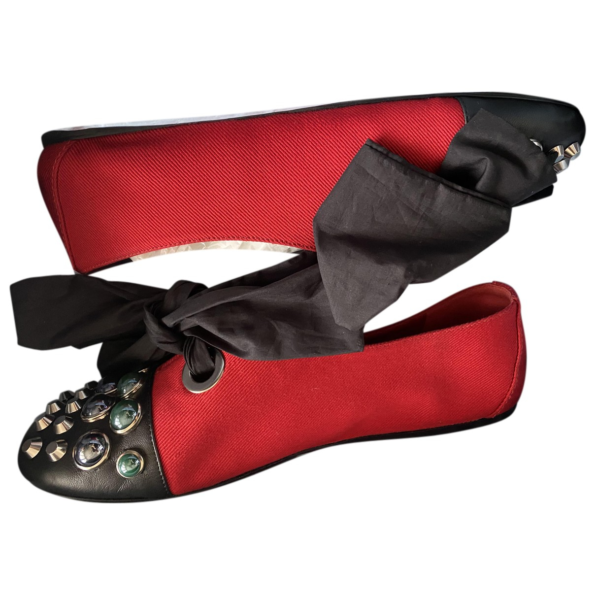 Prada - Ballerines   pour femme en toile - rouge