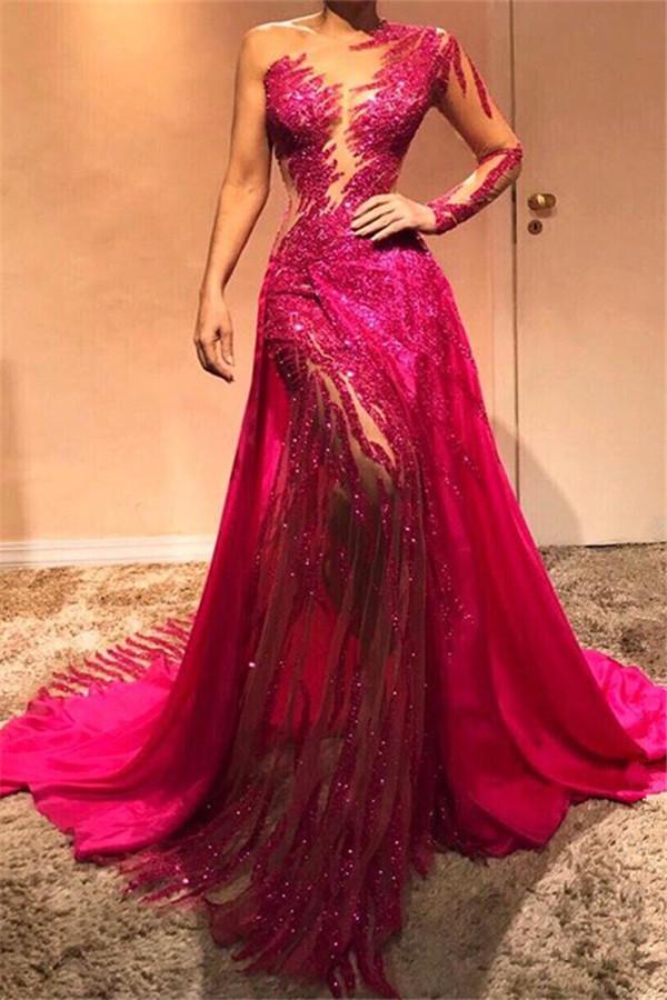 Glamorosa lentejuelas de un hombro vestidos de noche con mangas | 2021 sexy vaina vestidos de baile baratos BC0504