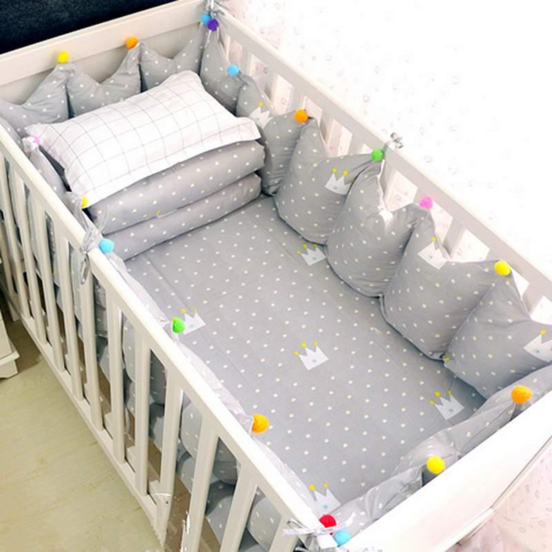 Lovely Cartoon Crowns Pattern 9-Piece Cotton Gray Baby Crib Bedding Set