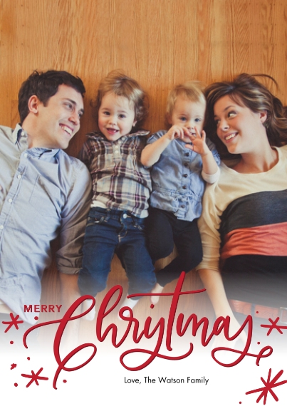 Christmas Photo Cards Flat Glossy Photo Paper Cards with Envelopes, 5x7, Card & Stationery -Christmas Red Script by Tumbalina