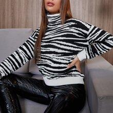 Pullover mit Zebra Streifen, Stehkragen und sehr tief angesetzter Schulterpartie