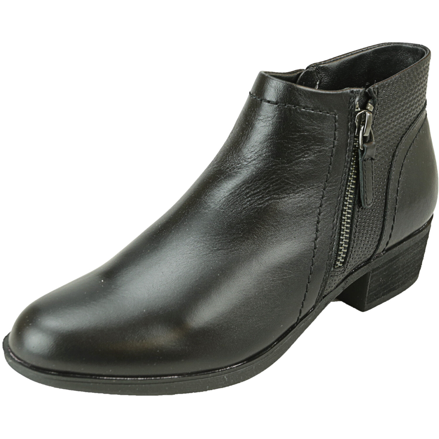 Rockport Women's Cobb Hill Oliana Panel Black Ankle-High Leather Boot - 7M