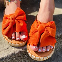 Bow Decor Suede Espadrille Slippers