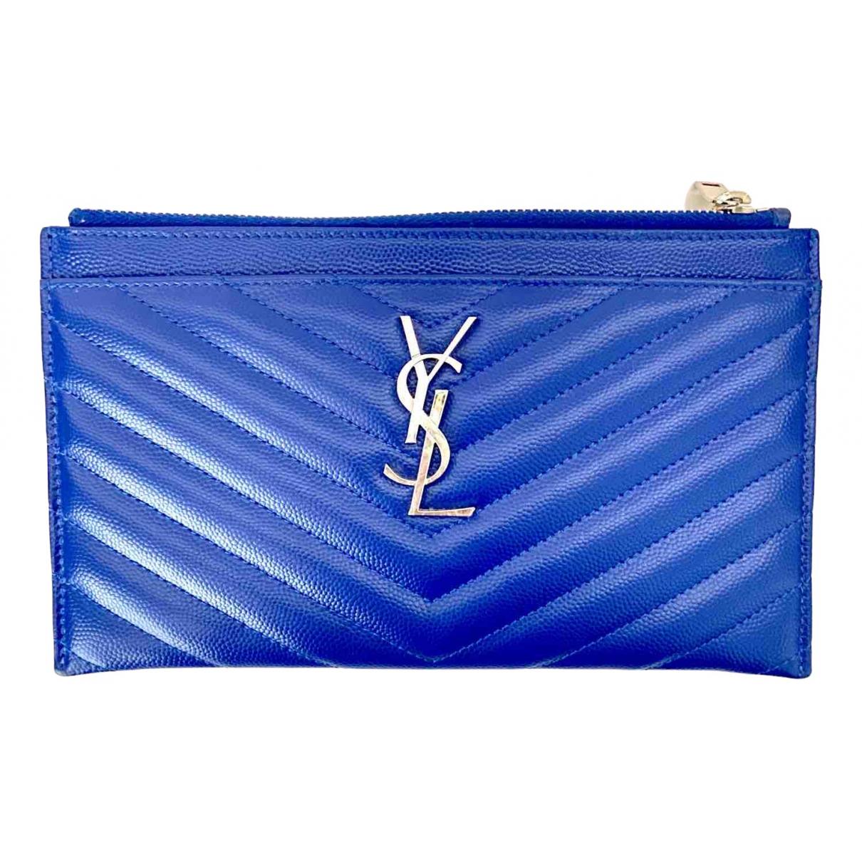 Saint Laurent - Portefeuille Monogramme pour femme en cuir - bleu