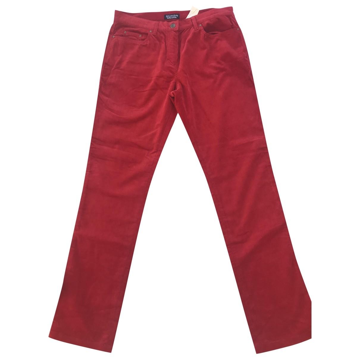 Sonia By Sonia Rykiel \N Red Velvet Trousers for Women 44 FR