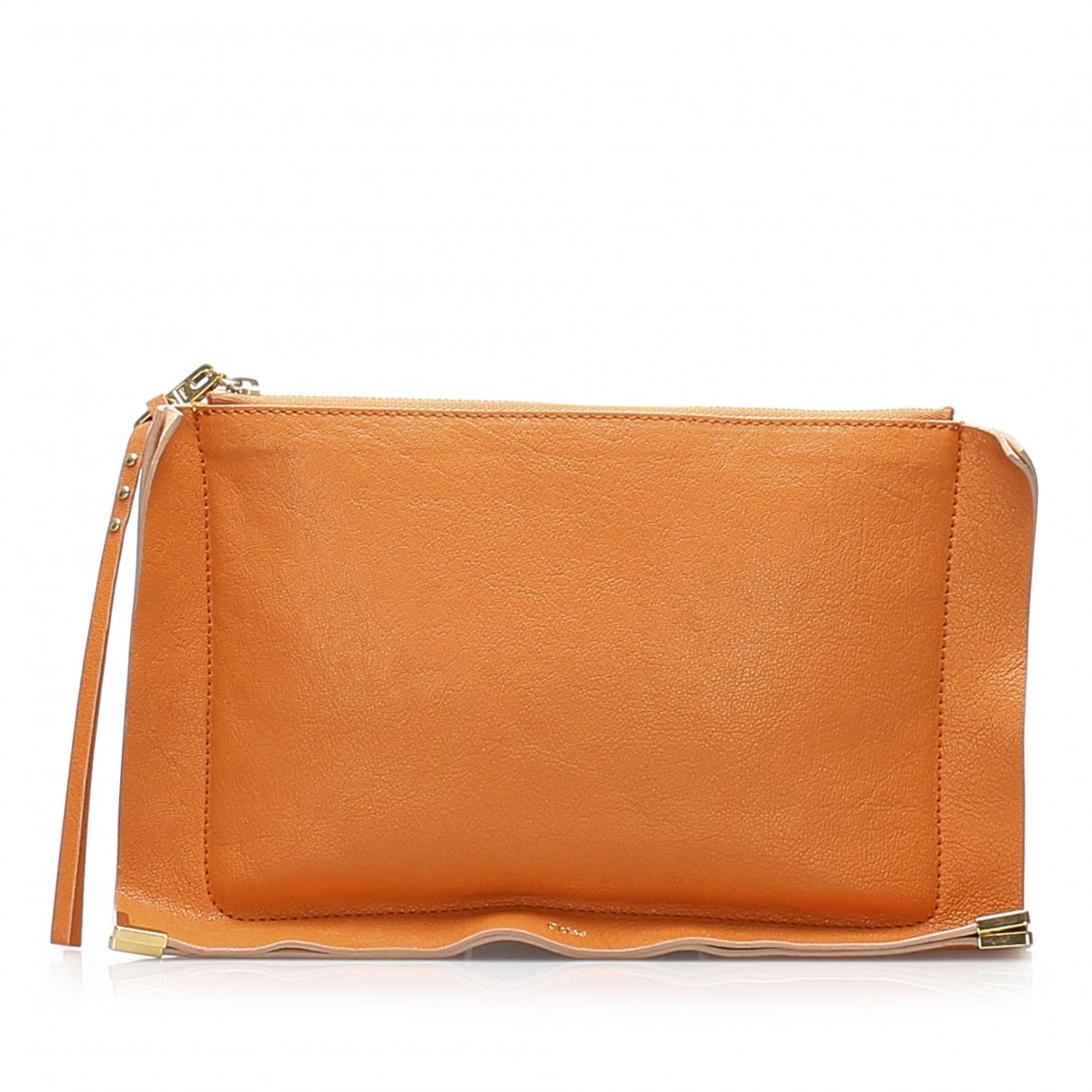 Chloe \N Clutch in  Orange Leder