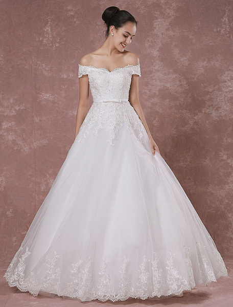 Milanoo Off-the-shoulder Wedding Dress Lace Bridal Gown Floor-length A-line Luxury Bridal Dress