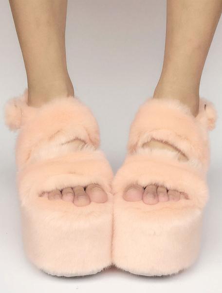 Milanoo Sweet Lolita Shoes Peach Faux Fur Platform Open Toe Wedge Lolita Sandals