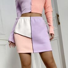 Cut And Sew Panel Mini Skirt