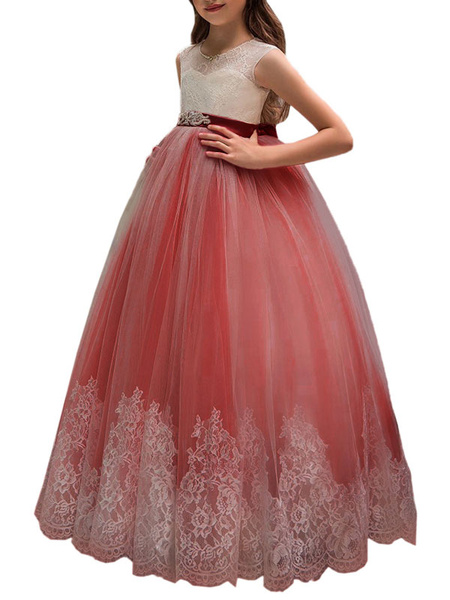 Milanoo Flower Girl Dresses Jewel Neck Sleeveless Sash Formal Kids Pageant Dresses
