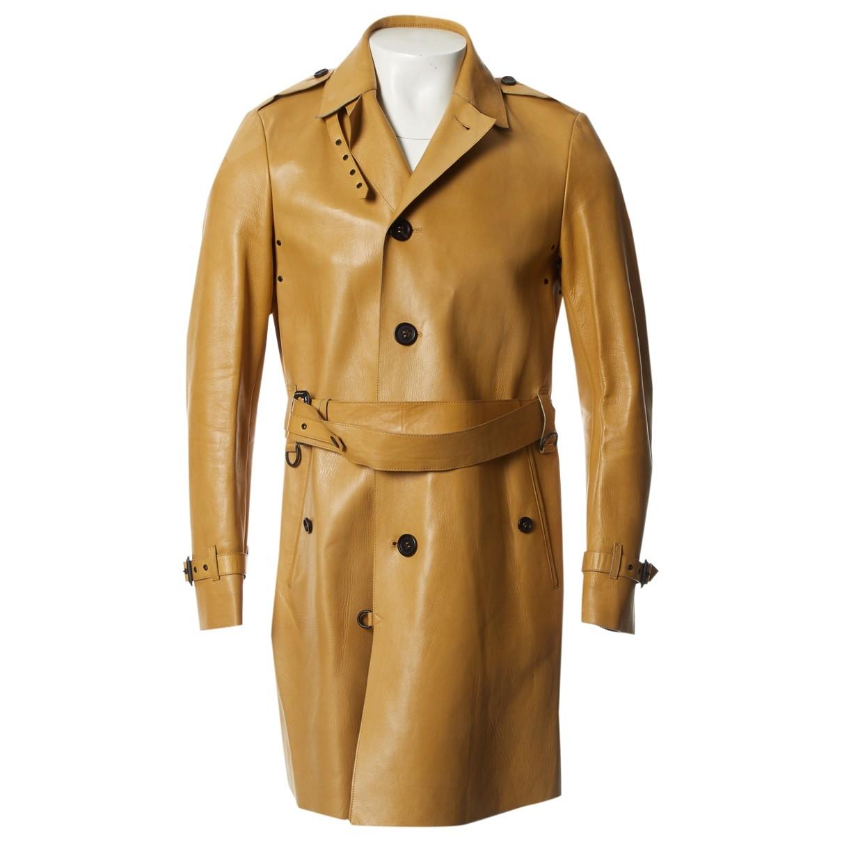 Burberry \N Beige Leather coat  for Men 48 IT