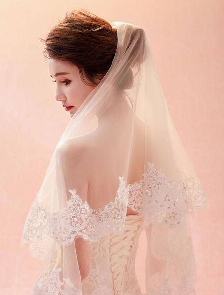 Milanoo Wedding Veil Lace Applique One Tier Ivory Bridal Veils