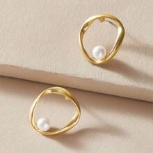 1pair Faux Pearl Decor Hollow Out Earrings