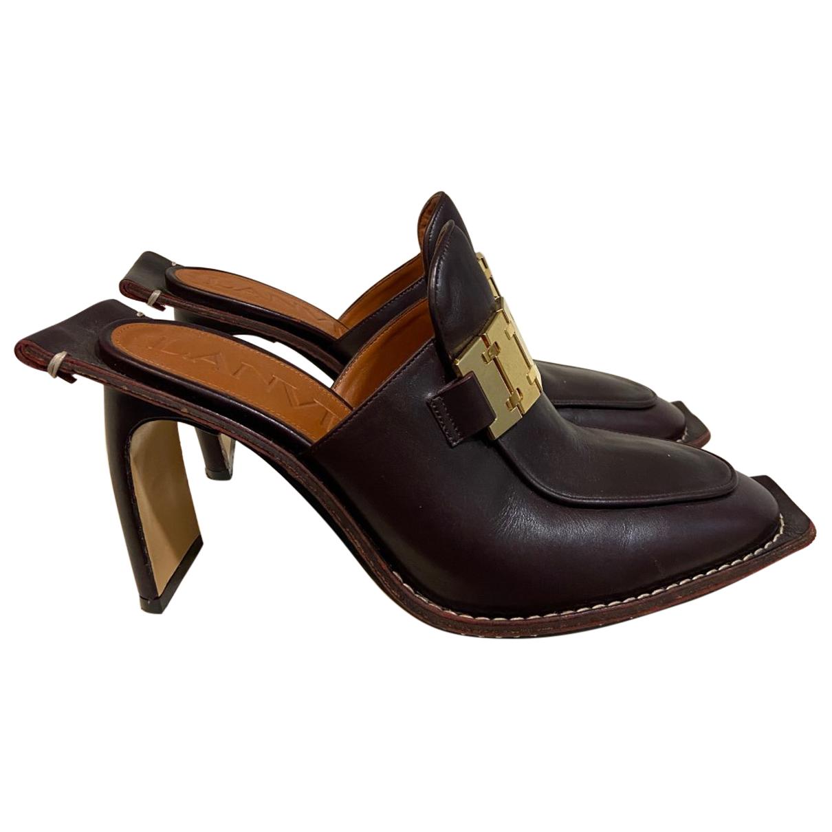 Lanvin N Burgundy Leather Sandals for Women 38 EU