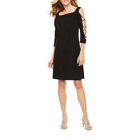 MSK 3/4 Sleeve Embellished Shift Dress, Small , Black