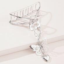 Butterfly & Heart Charm Hair Claw