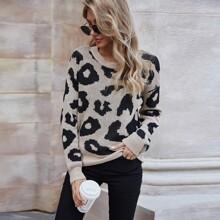 Allover Print Drop Shoulder Sweater