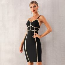 Adyce Cami Bandage Kleid mit Kontrast Bindung
