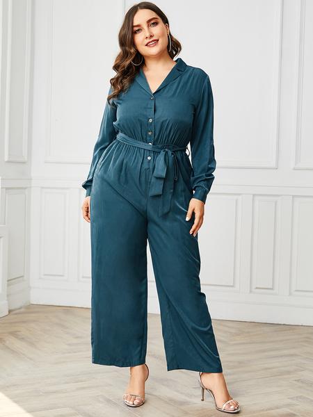YOINS Plus Size Lake Blue Belt Design Notch Collar Jumpsuit