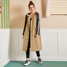 Press Buttoned Striped Sleeve Two Tone Hooded Coat