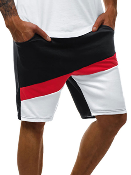 Milanoo Pantalones cortos para hombres Bloque de color Cintura con cordon Verano Ciclismo Pantalones de playa