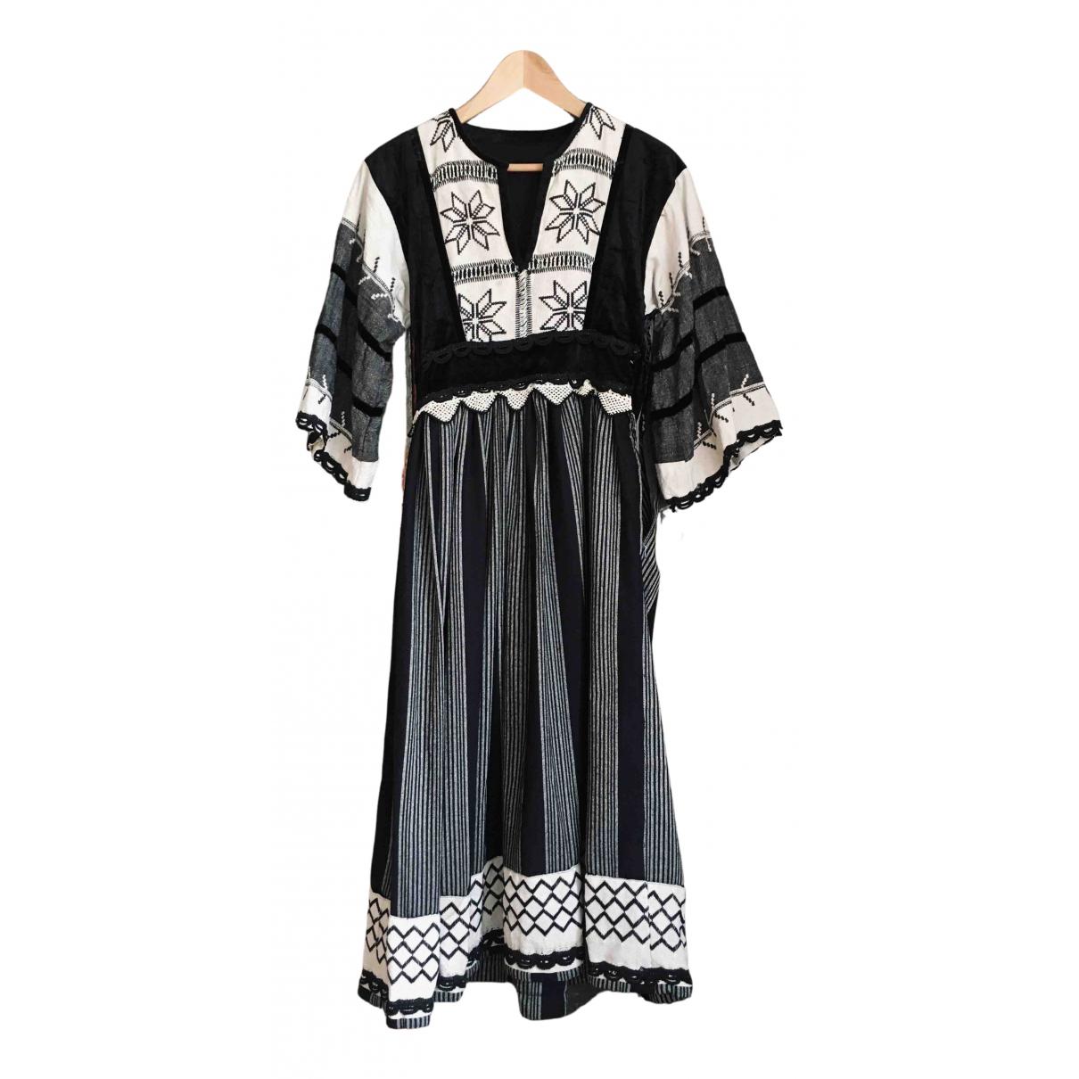 Non Signe / Unsigned Hippie Chic Kleid in  Schwarz Leinen