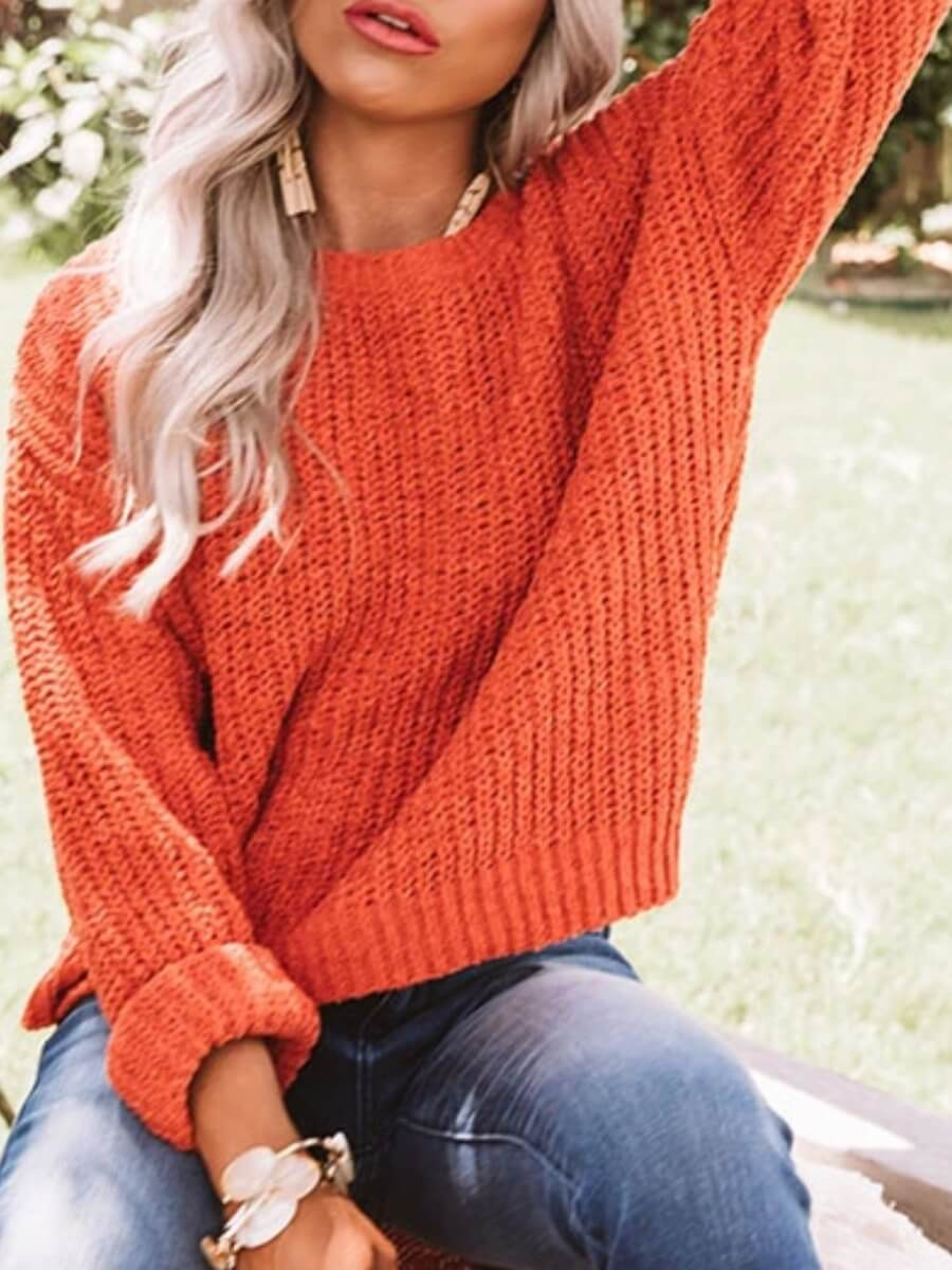LW Lovely Casual O Neck Loose Orange Sweater