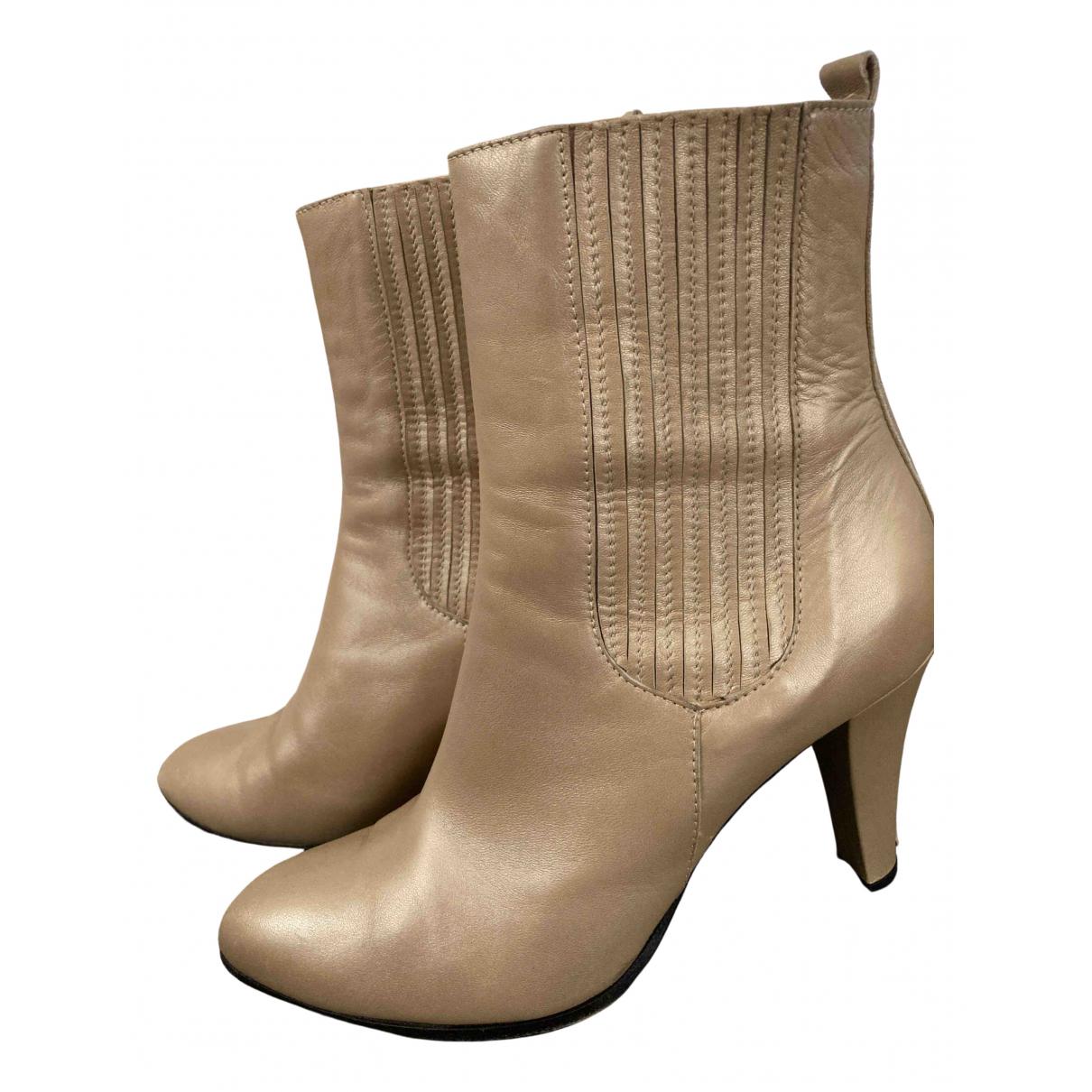 Costume National - Boots   pour femme en cuir - dore