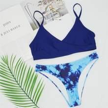 Tie Dye Surplice Neck Bikini Swimsuit