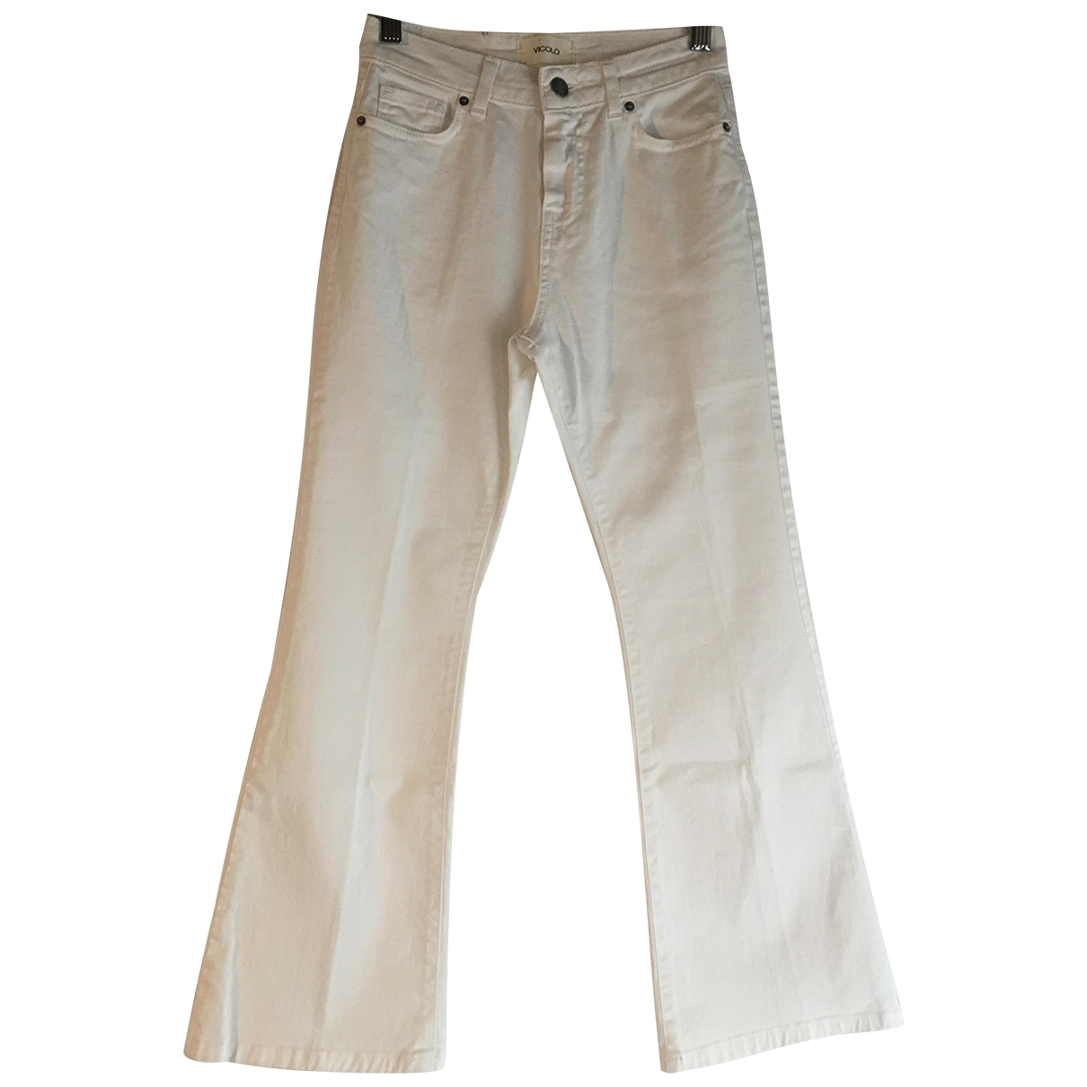 Vicolo \N White Cotton Trousers for Women XS International