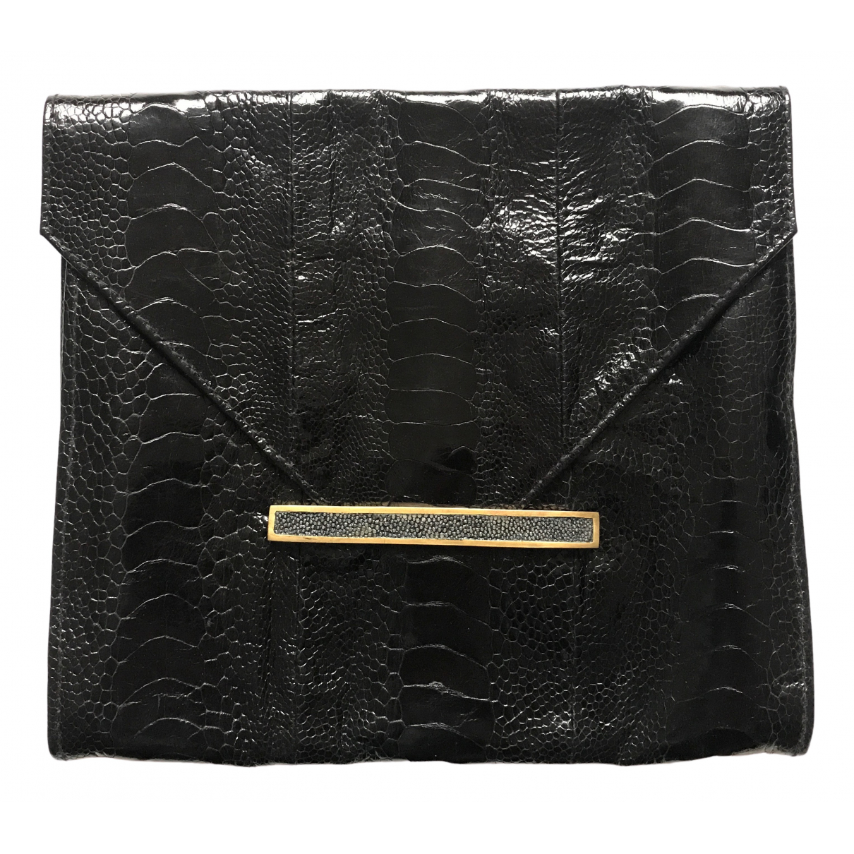 - Pochette   pour femme en cuir exotique - noir