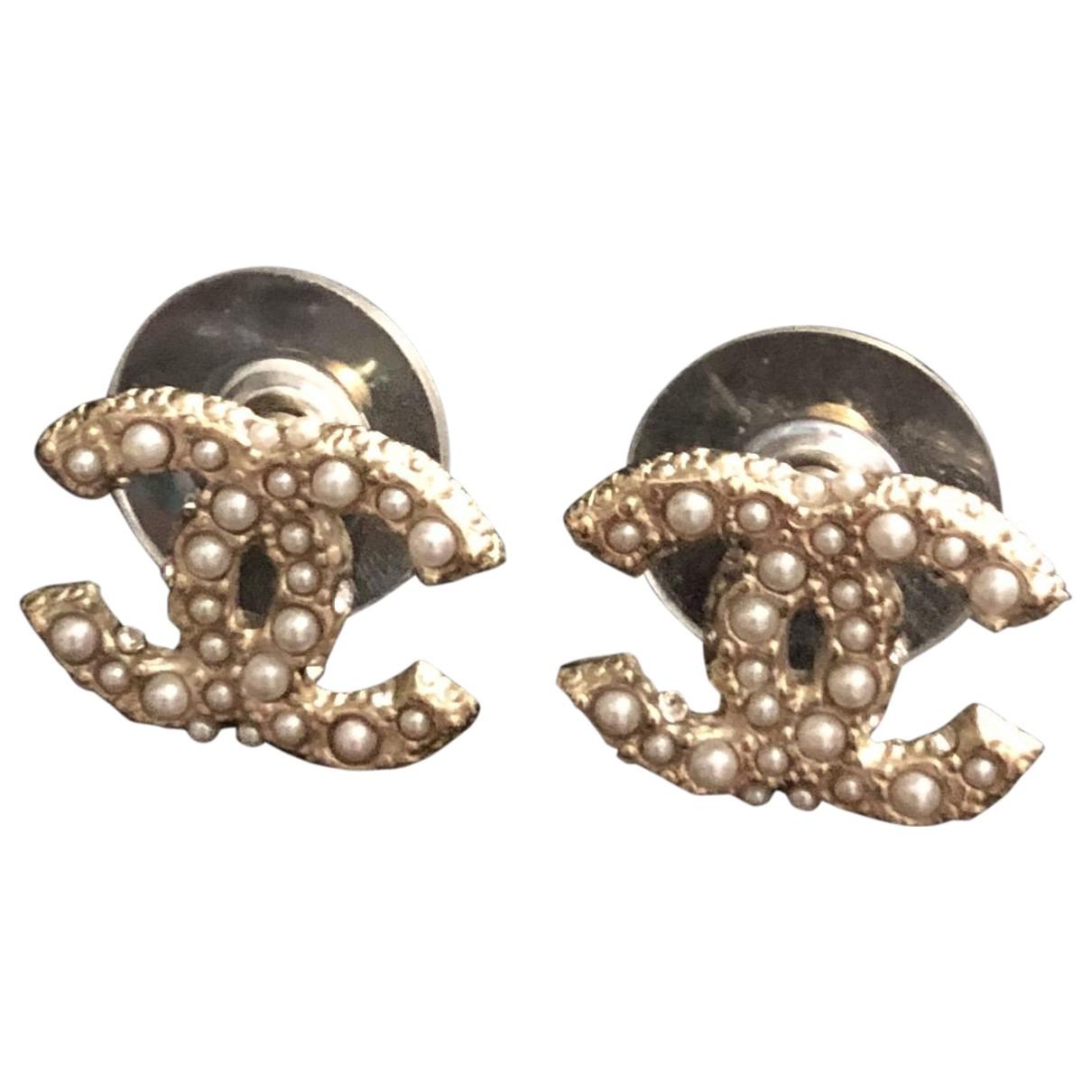 Chanel - Boucles doreilles CC pour femme en acier - dore
