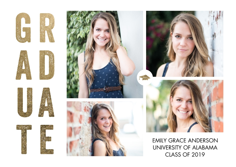 Graduation Announcements 5x7 Cards, Premium Cardstock 120lb with Scalloped Corners, Card & Stationery -Graduate Bold Letters by Tumbalina