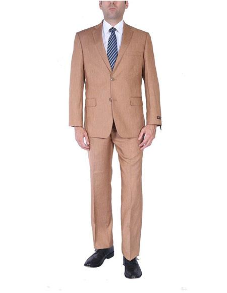 Men's Single Breasted Two-Piece Side Vents 2 Button Light Rust Suit