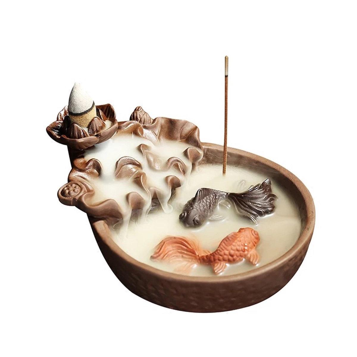 Fish Porcelain Backflow Ceramic Smoke Cone Incense Burner Holder Buddhist Cones